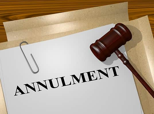 Applications for annulment of marriage